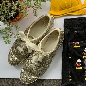 Keds x Kate Spade Glitter Gold Silver Sneakers 7.5